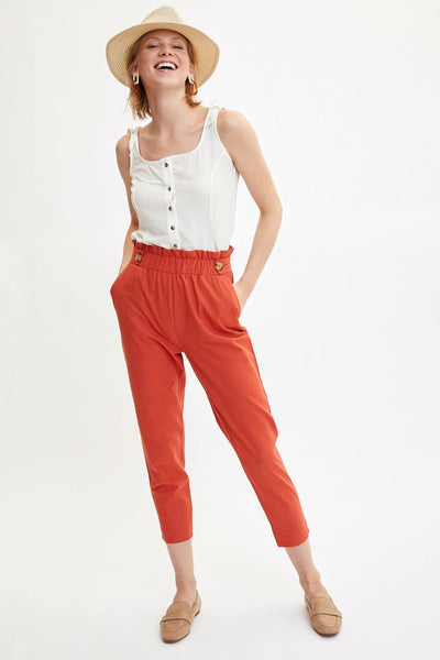 Women Elastic Waist Pants Solid Color Casual Ladies Loose Button Trousers Female Comfort -