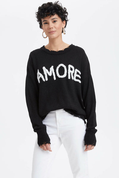 New Woman Black O-neck Long Sleeves Letter Pattern Tops Loose Casual Female Pullover Autumn -