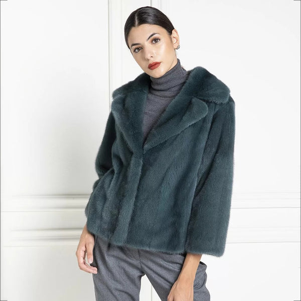 Winter Coats Women Plus Size Natural Mink Fur Coats Dark Green Lapel Collar Genuine Leather Jackets Real Fur Coats Spring