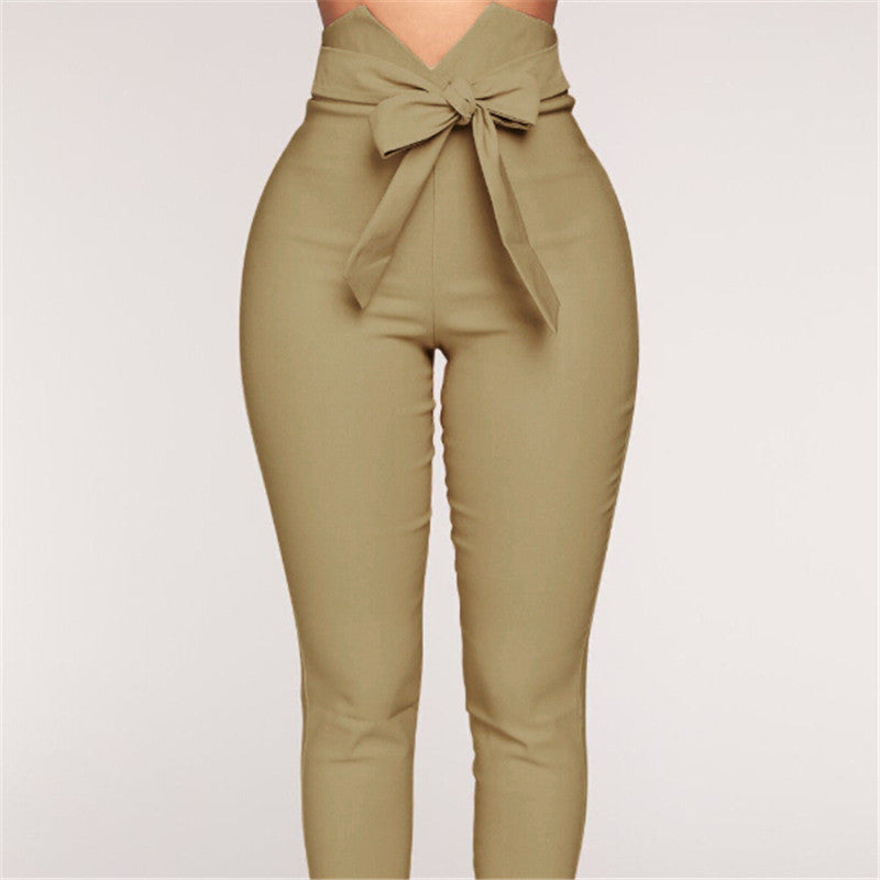 Women High Waist Casual Pants Bowknot Long Slim Skinny Pant Bandage Elastic Pencil Trousers With Sashes