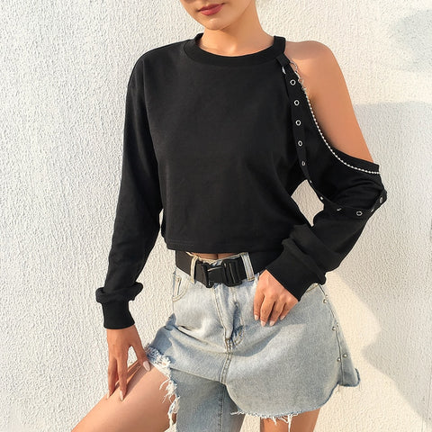 Black Sexy Women O-Neck One shoulder Long Sleeve Splice Eyelet Bandage Spring T-shirt Goth Female Dark Chain Loose Tops