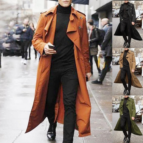 Long Trench Coat Men Solid Classic Winter Jacket Men Casual Loose British Style Trench Overcoat Streetwear Coat New