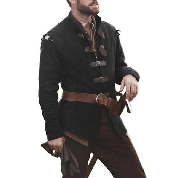 Classic Officer Leather Buckle Leather Trench Coat Costume Solid Color Collar Men Long Sleeve Top winter Jacket Costume