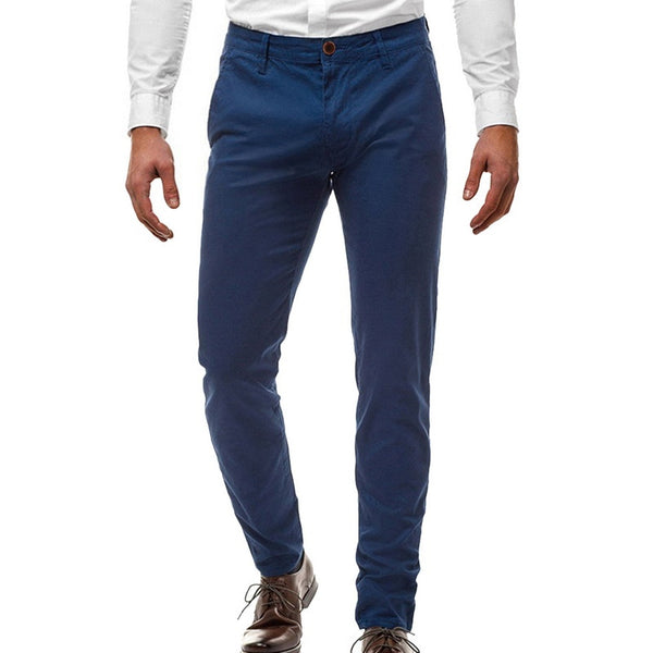 Spring Autumn Men Solid Color Casual Pants Men Straight Slight Elastic Ankle-length Men High Quality Formal Trousers