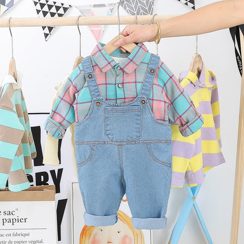 Toddler Infant Clothing Sets Long Sleeve Plaid Shirt Bib Jeans Casual Style Girls Baby Boys Vacation clothing