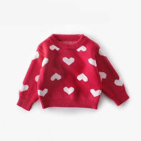 New knitted knit sweater t-shirt love round neck pullover shirt cotton yarn female baby clothes Newborn Knit Sweater