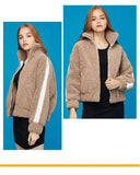 Women Jackets White Stripe Fleece Stand Collar Jacket Medium Thickness Comfort Warm Casaco Feminino