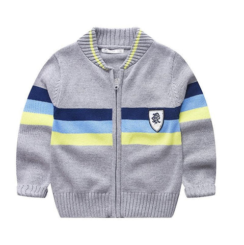 Kids Striped Sweater Tops Children Boy Autumn Winter Knitted Cardigan Sweater Baseball Coat New Toddler Outerwear Clothes