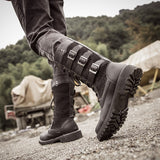 Rock Shoes Mens Punk Boots Black Combat Military High Bot Lace Up Army Shoes Metal Buckle Mid Calf Cowboy Shoes Motorcycle Botas