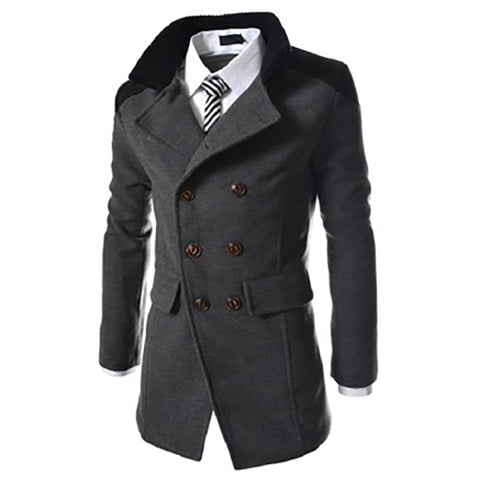 New Mens Long Trench Coat Autumn/winter Turn-down Collar England Style Double Breasted Coat Slim Windbreaker Gentry Outwear Coat