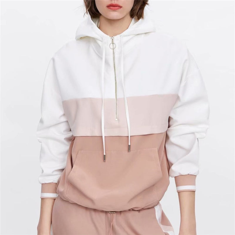 Women elegant patchwork hooded sweatshirts loose pockets Drawstring tie coat female casual outerwear chic tops