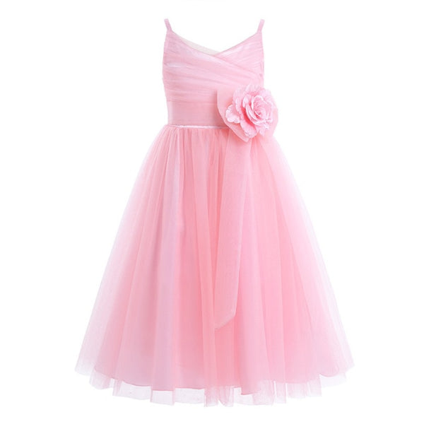 Girls Pleated Tulle Mesh Spaghetti Shoulder Straps Flower Girl Dress Princess Pageant Birthday Wedding Party Dress SZ 2-12