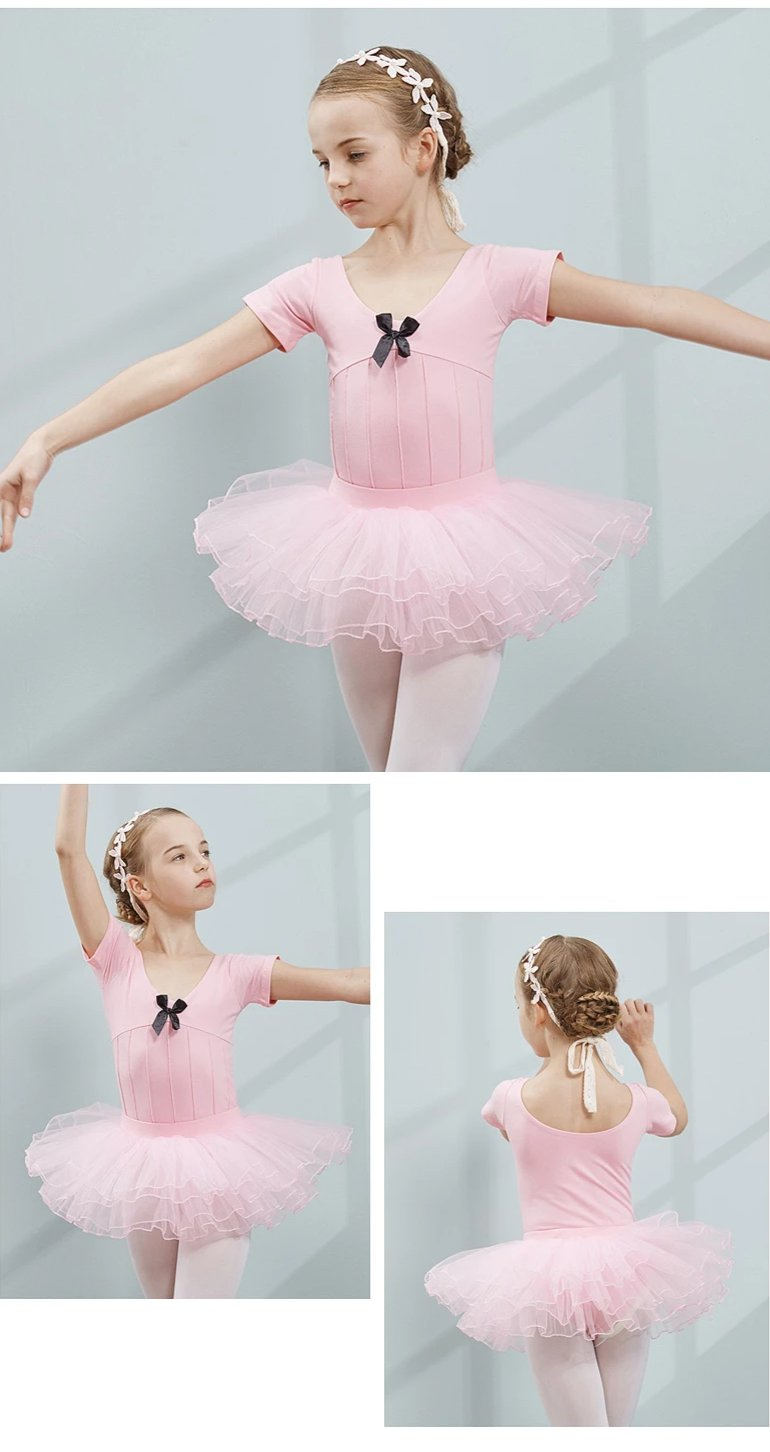 Cotton and Spandex Ballet Dress Dance Dress Tutu Ballet for Girls Kids Children Short Sleeves Tulle Dance
