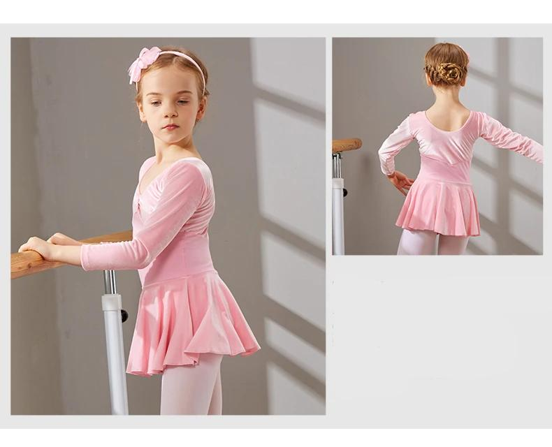 Dance Dress Ballet Dress Girls Tutu Ballet Dance Dress for Girls Kids Children Long Sleeves Tulle Dance High Quality