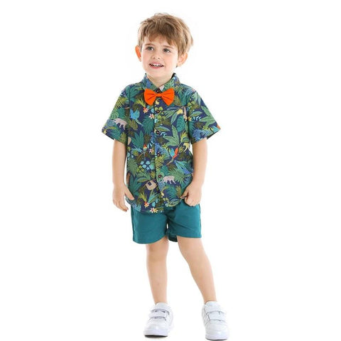 Beach Style Toddler Boys Clothing Set Short Sleeve Printed Shirt Tops and Shorts Kids Gentleman Suit