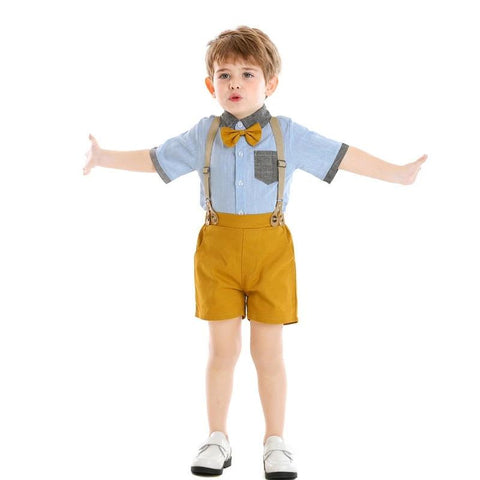 Children Boys Clothing Set Cotton Short Sleeve Shirt with Bowtie+Overalls Outfits Toddler Boys Gentleman Clothes