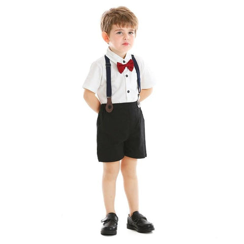 Top and Top Summer Kids Baby Boys Gentleman Bowtie Short Sleeve Shirt+Suspenders Shorts Outfits Children Clothing Set