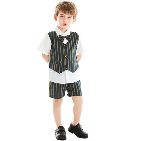 Children Formal Suit Kids Boys Casual Short Sleeve Cotton Bowtie Shirt+Shorts Gentleman Clothes 2 Piece Set