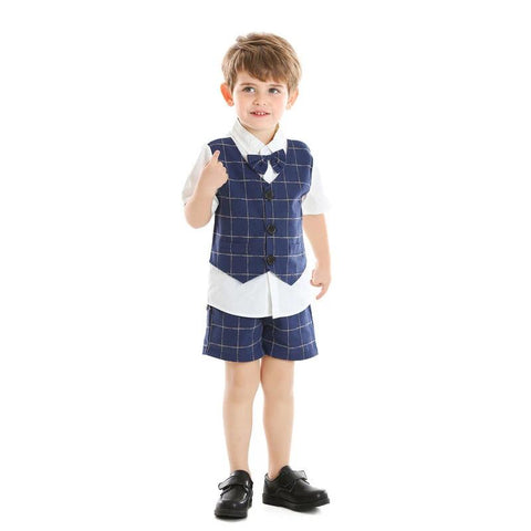 Top and Top Summer Little Boys Clothing Set Short Sleeve Fake two Shirt with Bowtie+Shorts Striped Kids Gentleman Suits Tuxedo