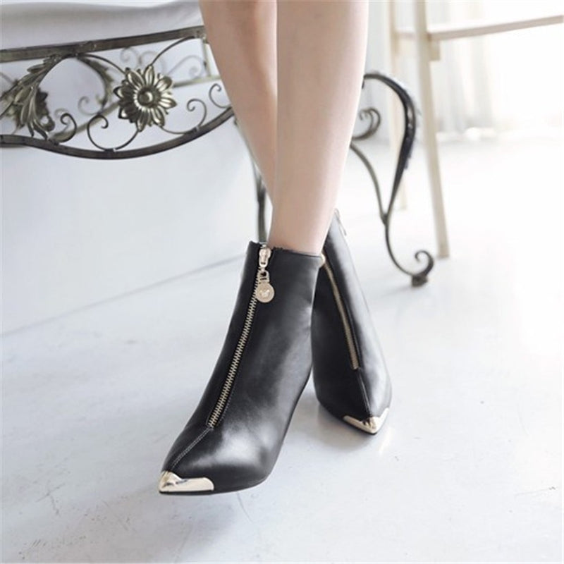 Pointed Toe Zipper Steel Toe Ankle Boots for Women Sexy Wedding High Heels Autumn Short Shoes Woman Gold Silver
