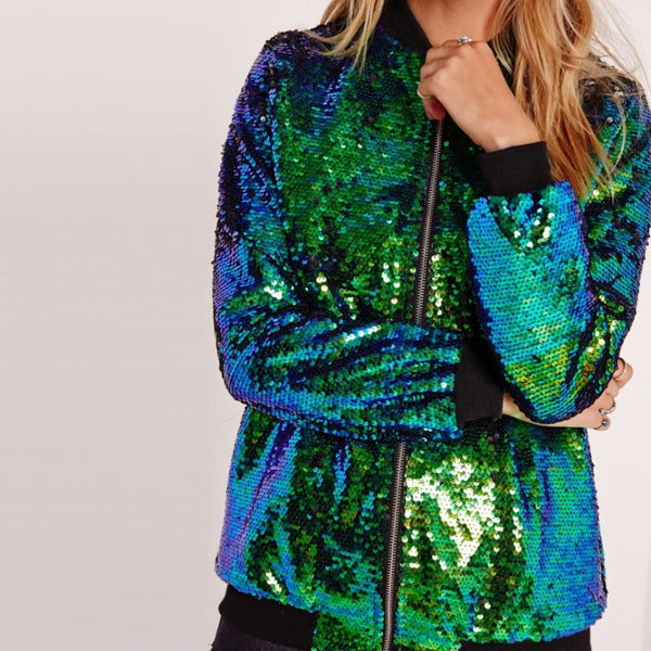 Winter Women Sequins Coat Bomber Female Jacket Zipper Streetwear Casual Glitter Outerwear Feminina