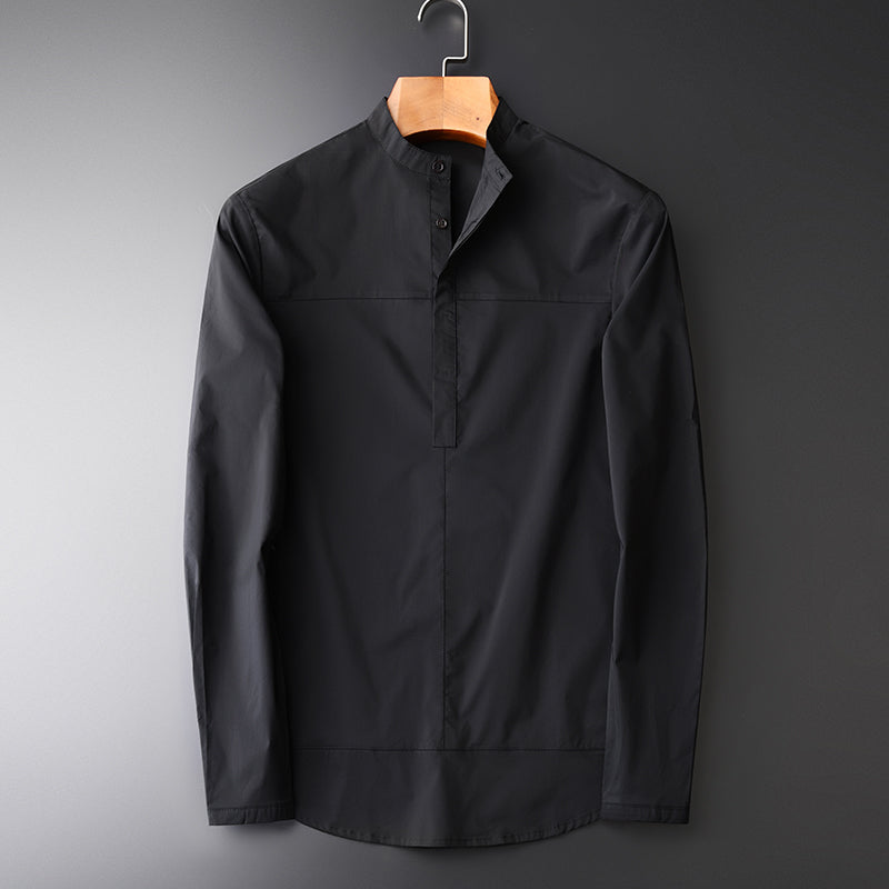 Spring New Men's Dress Shirts  High Quality Stand Collar Single Breasted Solid Color Black Men's Shirts M-4XL