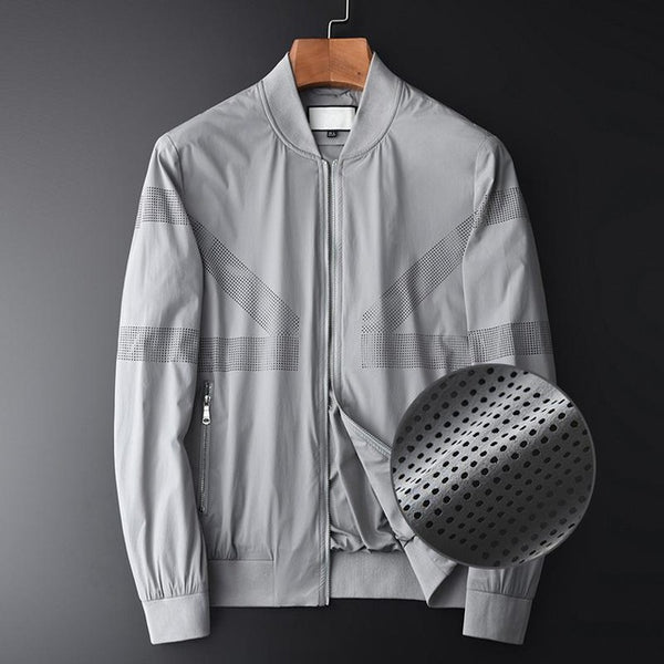 Grey Men Jackets Luxury Stand Collar Laser Drilling Mens Jackets And Coats Plus Size 4xl Slim Fit Sport Casual Man Jacket