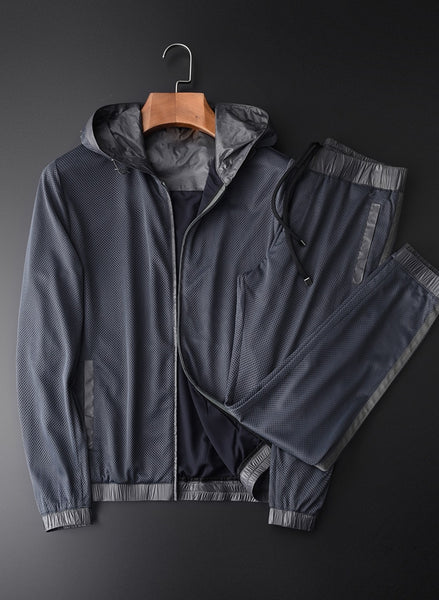 Hooded Jacket Men Sets (JACKETS+PANTS) Luxury Ventilate Mesh Casual Sport Man Sets Plus Size 4xl Spring Slim Thin Man Set