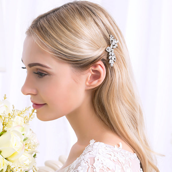 New Bridal Jewelry Wedding Accessories Silver Alloy Rhinestone Inlay Leaf Headwear Barrettes Hair Clip for Women
