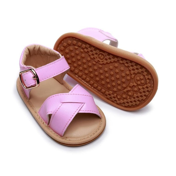 Baby Summer Shoes Newborn Infant Baby Girls Boys sandals Solid Non-slip PU Leather Breathable Toddler Shoes 0-24M