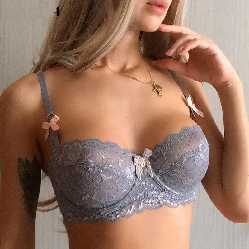 New Top Sexy Bra Plus Size Lace Underwear Ultrathin Transparent Brassiere A B C D Cup White Bras Embroidery Women Lingerie Black