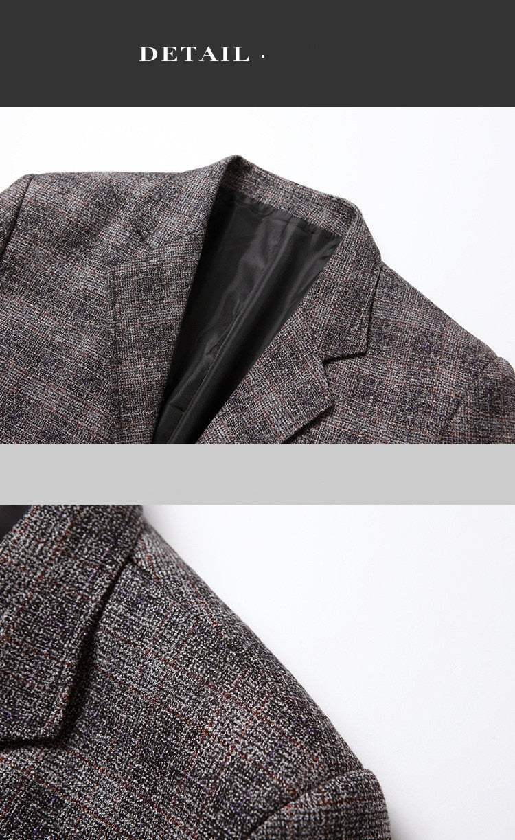 Men Casual Blazers High Quality Men's Business Single Breasted Plaid Suit Dress Blazer Male