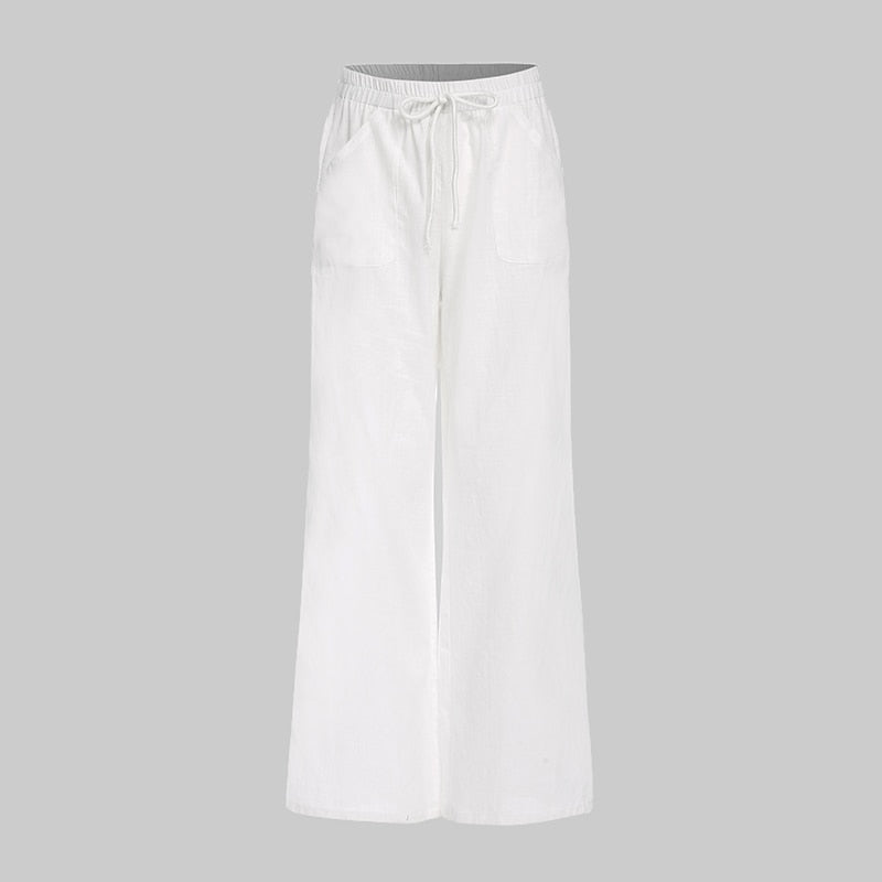 Women Vintage Linen Pants Long Palazzo Casual Loose Wide Leg Pants Elastic Waist Trousers Plus Size Pantalon