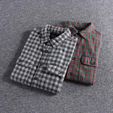 Autumn New Ground Young Plaid Long-sleeved Foreign Trade Single Men's Casual Shirt plus size high quality blouse for sale L