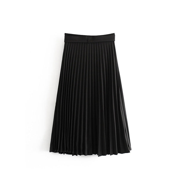 Women High Waist Black Pleated Midi Skirt With Belt Casual Female Elegant Solid Chic Skirts Office Wear Skirt Faldas