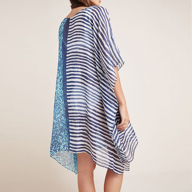 Striped Plus size Beach Dress Tunic for Beach Sarong Chiffon Beachwear O neck Loose Women Summer Casual Dress Swimsuit