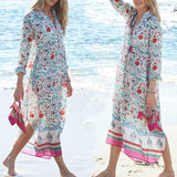 New Chiffon Maxi Bohemian Dress V Neck Print Floral Women Summer Long Sleeve Holiday Dress Beach Tunic Plus size