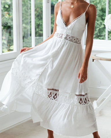 Sexy Summer White A Line Cotton Crochet Bohemian Dress Lace Patchwork Sleeveless Deep V neck Maxi Long Dress Sarong Robe Plage