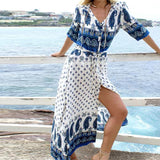 Sexy Boho Dress Cotton Print Beach Kaftan Shirt Long Dress Women Beachwear Button Summer Top Dress Robe Beach
