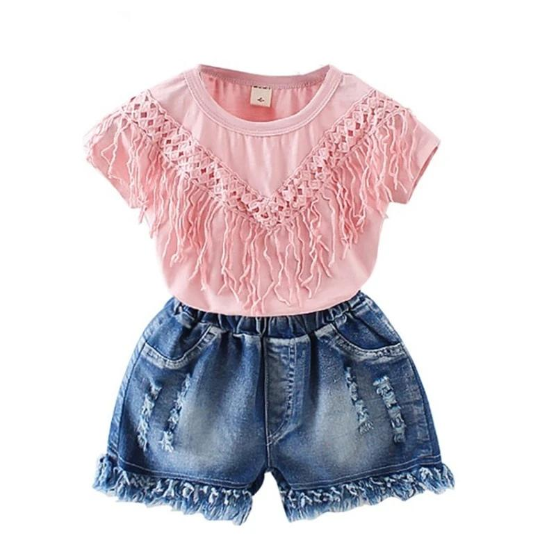 2PCS Toddler Kids Baby Girls Outfits Blouse T-shirt Tops Short Pants Clothes Set