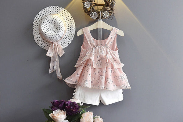 Floral Baby Girls Clothes Summer Toddler Girl Clothes Vest + Shorts Vacation Beach Style Children Clothes
