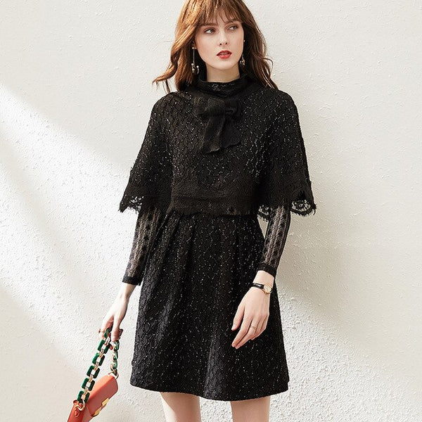 Designer Spring Dresses for Women Long Sleeve Lace Cloak Top and Dress 2piece Party Vestidos