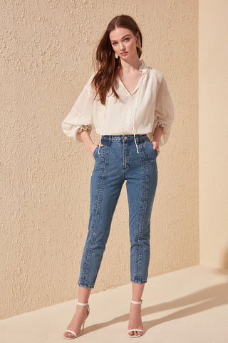 Stitch Detail High Bel Jeans