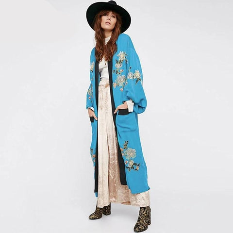 Bohemian Holiday Beach Kimono Bikini Outing Pockets Embroidery Swimsuits Cover Up Vintage Oversized Long Cardigans