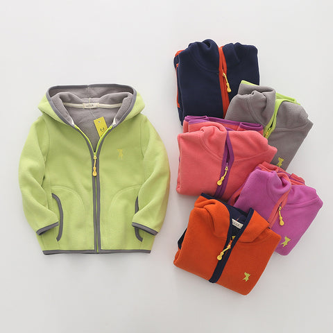 Teenager Hooded Boys Jackets for Girls Coats Polar Fleece Kids Outwears Children Coats  Spring Autumn Jackets for 2-14years