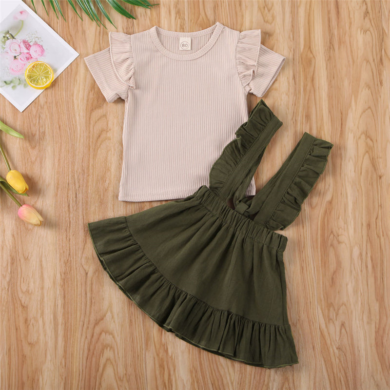 New Summer Toddler Kids Baby Girls Clothes Ruffles Shorts Sleeve Top T-shirt Strap Dress Holiday Outfit Set