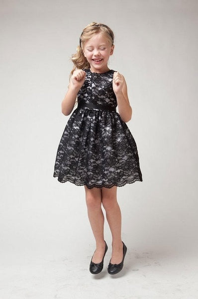 Summer Girls Dresses Cute Princess Dress for Toddler Girl Teen Sequins Flare Sleeve Mesh Black Dress Birthday Clothing