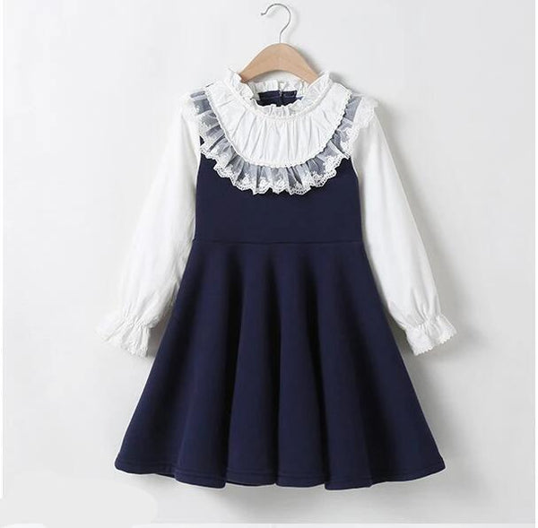 Girl Fall Dresses New Cotton Lace Fake Two Piece Children Dress Fashion High-grade Kids Long Sleeve Dresses 10 12 14 Year