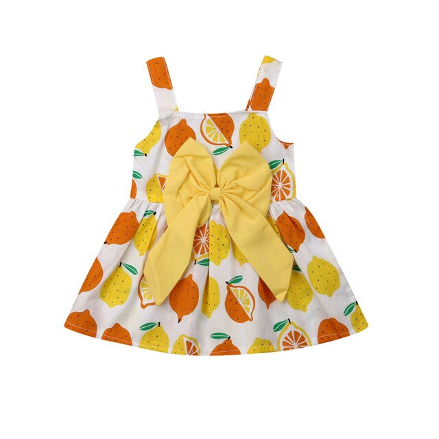Lemon Princess Bow Strap Sleeveless Pageant Party Tutu Dresses Clothes Costume New Toddler Kids Baby Girls Dress