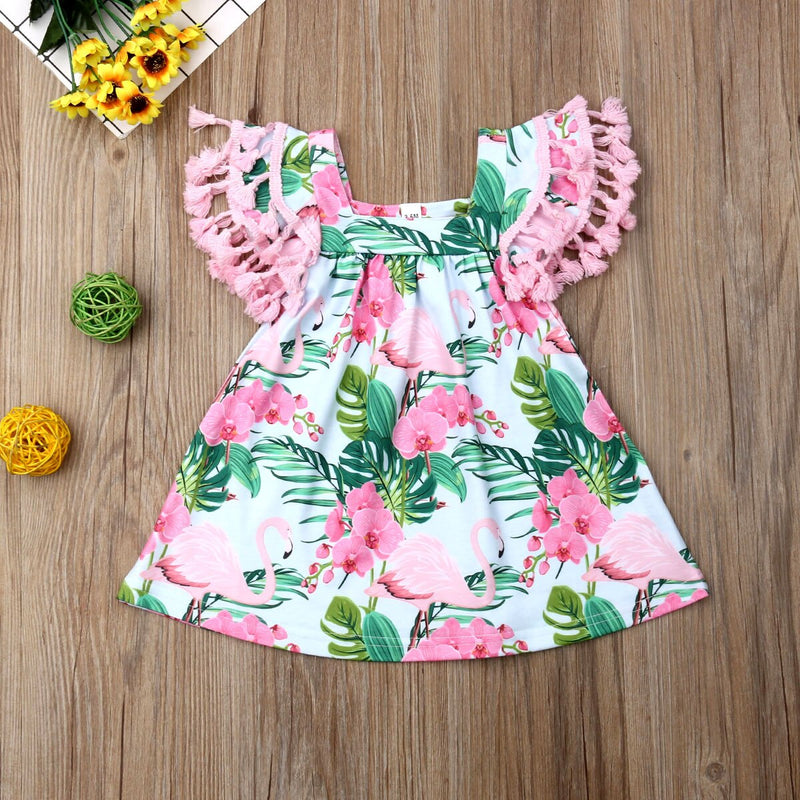 Summer Short Sleeve Floral Beach Party Dresses Costume Clothing Sweet Infant Toddler Baby Girl Flamingo Tassel Dress
